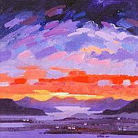 JAMES S DAVIS DA RSW SUNSET OVER MULL acrylic on