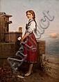 THEODOR VAN DER BEEK (1838 - 1921) GIRL AT THE, Theodor