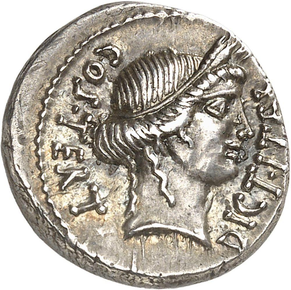 RÉPUBLIQUE ROMAINE Jules César (60-44 av. J.-C.). Denier ND (46 av. J.-C.),