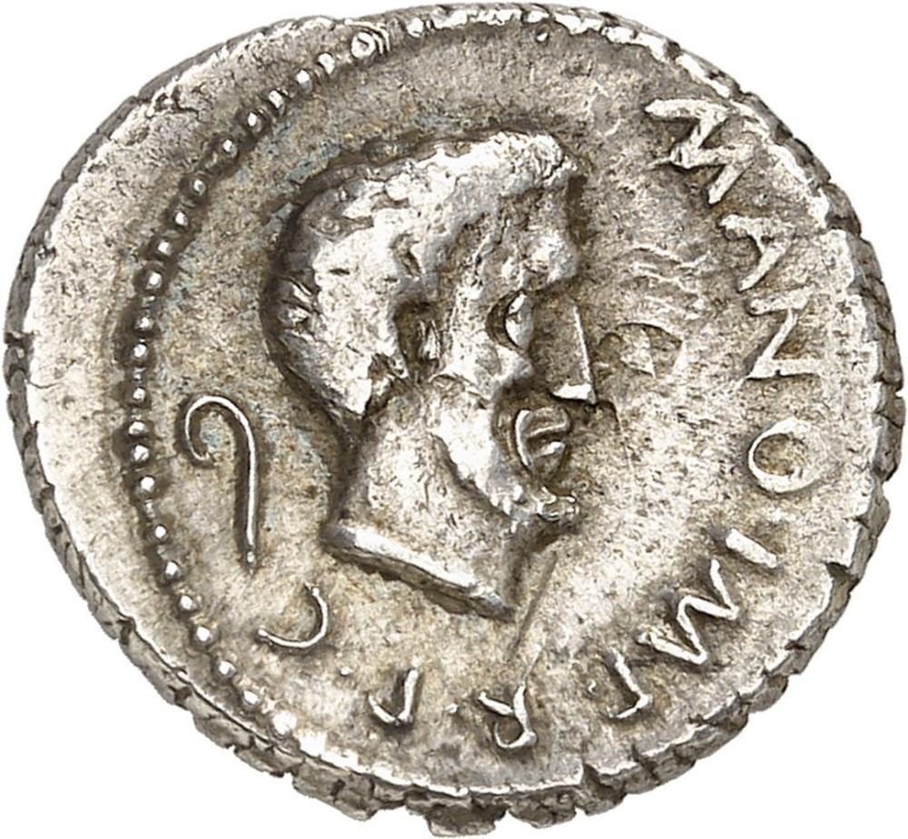 RÉPUBLIQUE ROMAINE Marc Antoine et Jules César. Denier ND (43 av. J.-C.), G