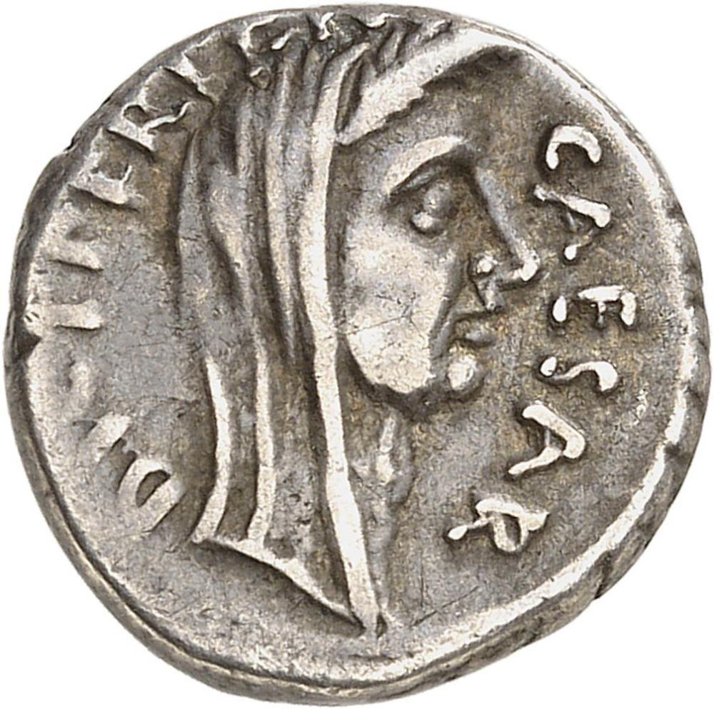 RÉPUBLIQUE ROMAINE Jules César (60-44 av. J.-C.). Denier ND (février-mars 4