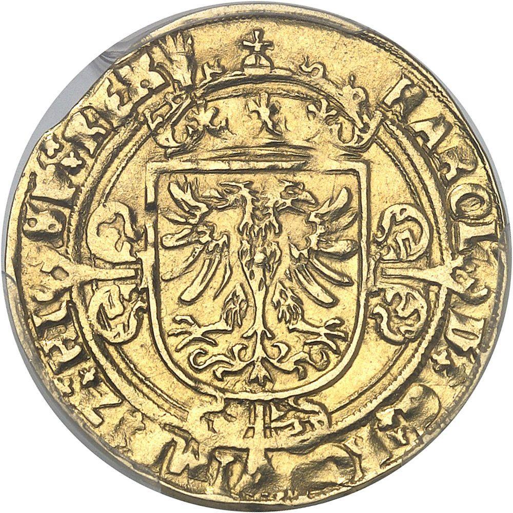 BELGIQUE Brabant (duché de), Charles Quint (1506-1555). Demi-réal d'or ND (