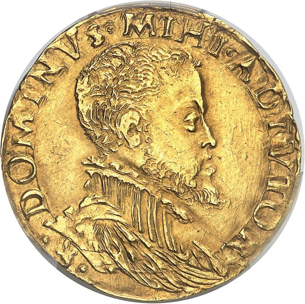 BELGIQUE Flandres (comté de), Philippe II (1555-1598). Demi-réal d'or ND (1