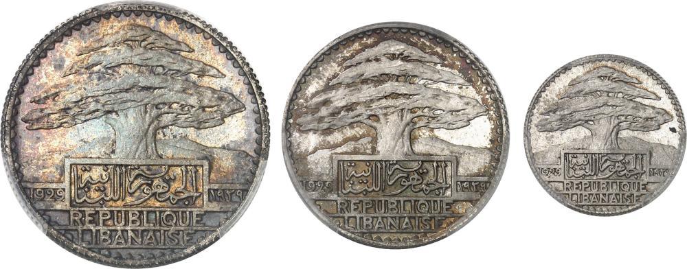 LIBAN Liban (République du). Coffret de 3 essais de 10, 25 et 50 piastres 1