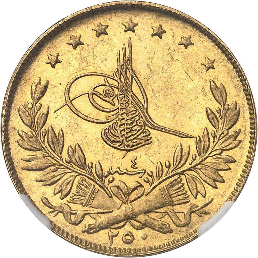 TURQUIE Mehmed VI (1918-1922). 250 kurush AH 1336/4 (1921), Constantinople.