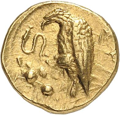 GRÈCE ANTIQUE Sicile, Agrigente (410-406 av. JC). 2 litrae ou diobole en or.