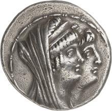 GRÈCE ANTIQUE Royaume Seleucide, Antiochos VIII et Cléopâtre Théa (125-121 av. J.C). Tétradrachme 124-123.