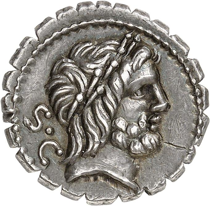 RÉPUBLIQUE ROMAINE Q. Antonius Balbus (83-82 av. J.C). Denier serratus.