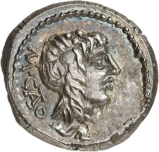 RÉPUBLIQUE ROMAINE M. Porcius Cato (89 av. J.C). Quinaire, Rome.