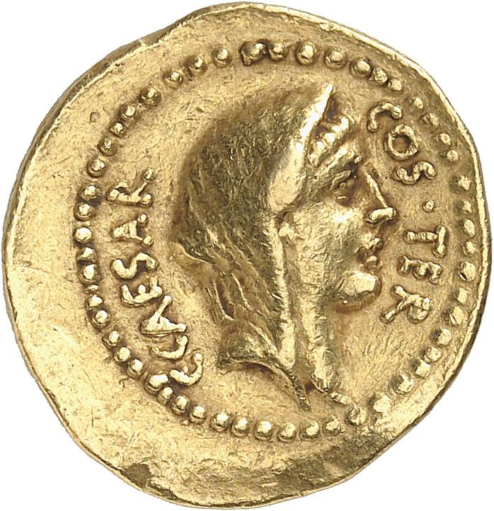 RÉPUBLIQUE ROMAINE Jules César (60-44 av. J.C). Aureus 46, Rome.