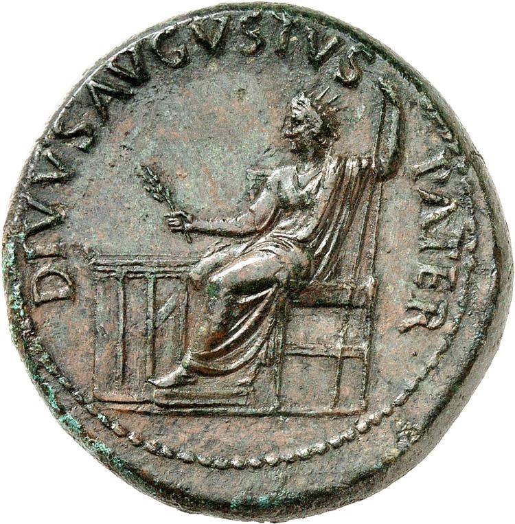 EMPIRE ROMAIN Tibère (14-37). Sesterce 22-23, Rome, frappé au nom de « Divus Augustus ».