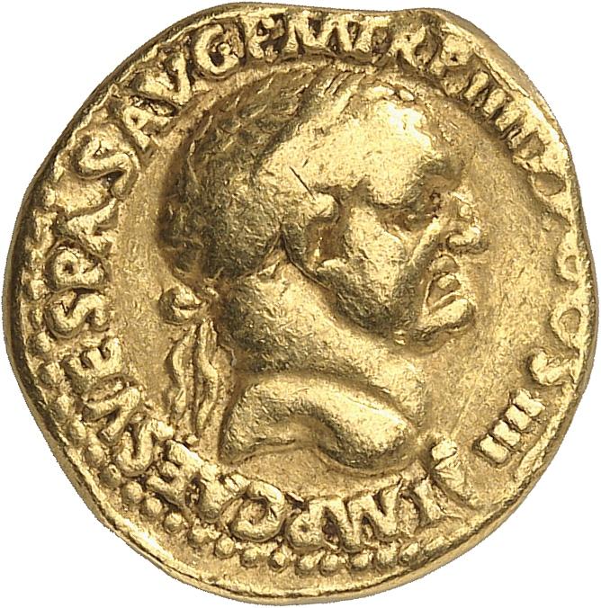 EMPIRE ROMAIN Vespasien (69-79). Aureus 72-73, Lyon.