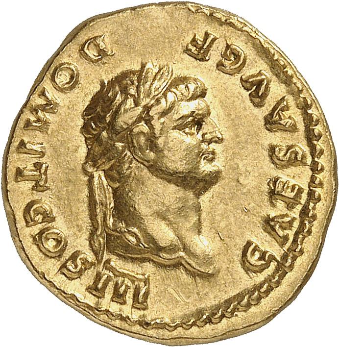 EMPIRE ROMAIN Domitien (81-96). Aureus 75, Rome, frappé sous Vespasien.
