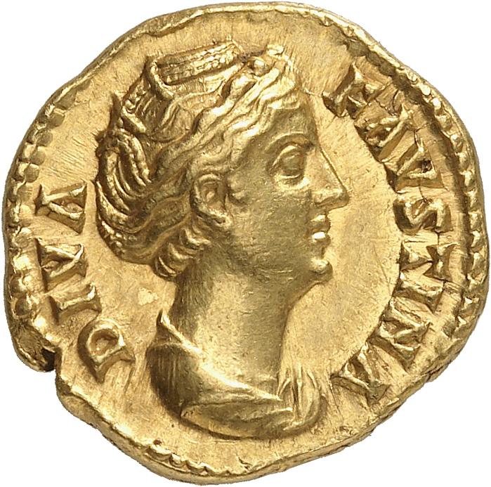 EMPIRE ROMAIN Faustine mère, femme d'Antonin le Pieux (138-161). Aureus 141, Rome.