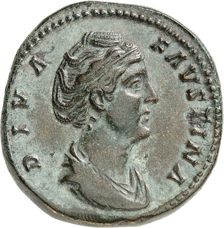 EMPIRE ROMAIN Faustine mère, femme d'Antonin le Pieux (138-161). Sesterce, Rome.
