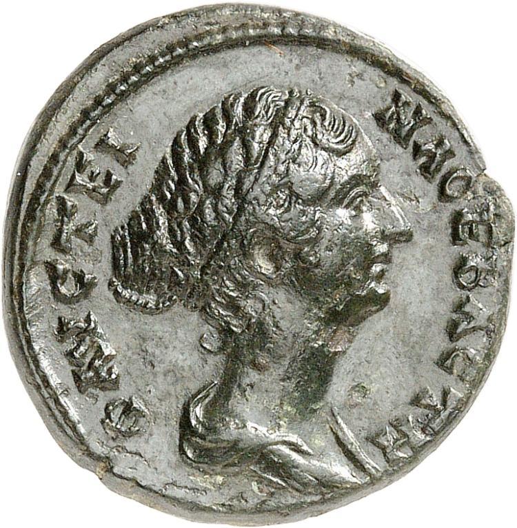 EMPIRE ROMAIN Faustine II, femme de Marc Aurèle (161-180). Bronze, Pautalia (Thrace).