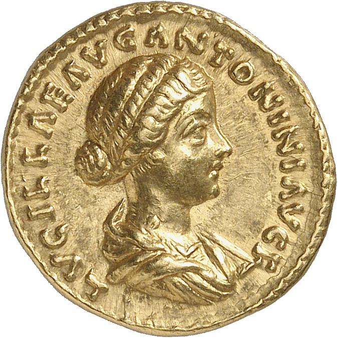 EMPIRE ROMAIN Lucille, femme de Lucius Verus (161-169). Aureus 161-162, Rome.