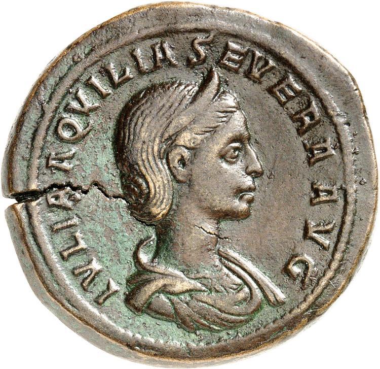 EMPIRE ROMAIN Aquilia Severa, femme d'Élagabal (220-221). Sesterce 220-221, Rome.