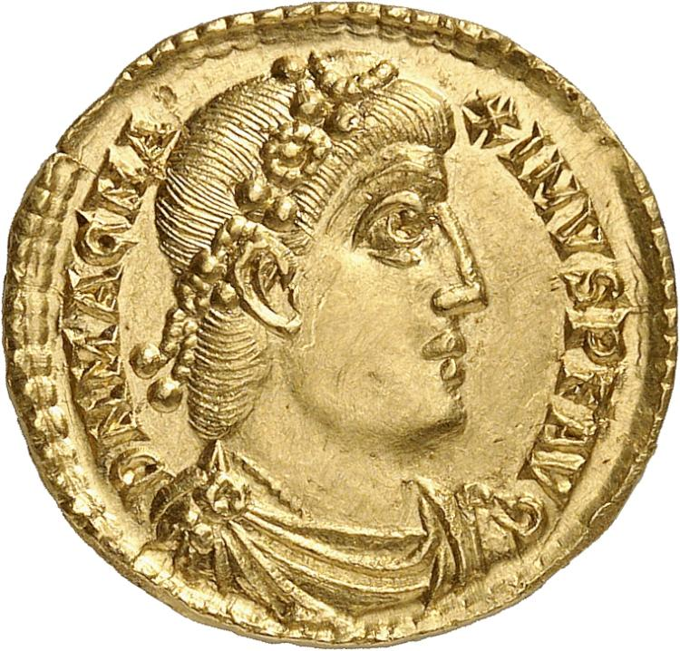 EMPIRE ROMAIN Magnus Maximus (383-388). Solidus, Trèves.