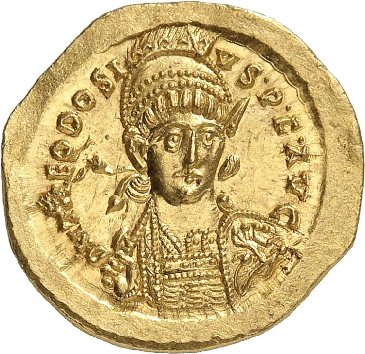 EMPIRE ROMAIN Théodose II (443-450). Solidus 441-450, Constantinople.