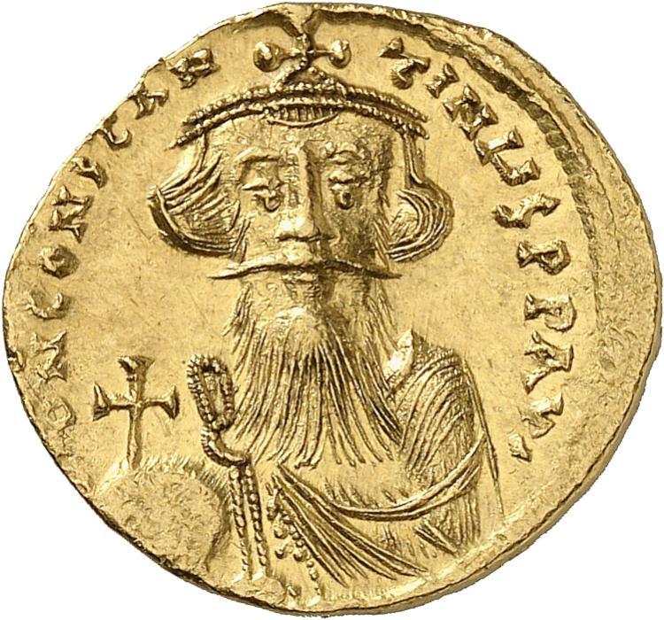 EMPIRE BYZANTIN Constant II (630-640). Solidus de poids léger de 23 siliques, Constantinople.