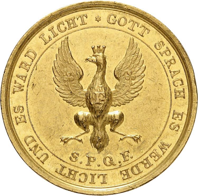 ALLEMAGNE Francfort. Médaille en or au poids de 5 ducats 1814, récompensant les officiers de la guerre de 1813-1814 contre les armées napoléoniennes.
