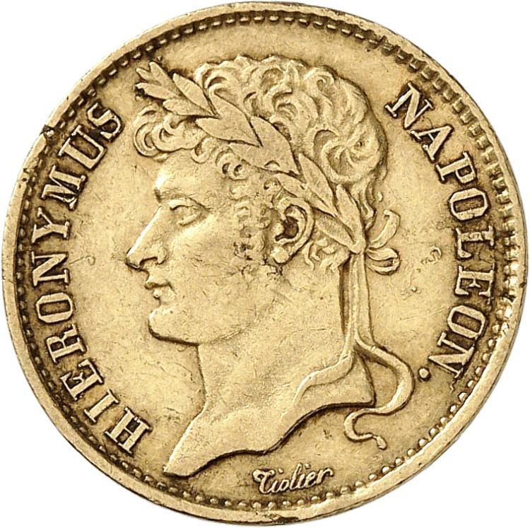 ALLEMAGNE Westphalie, Jêrome Napoléon (1807-1813). 20 franken 1809, Cassel.
