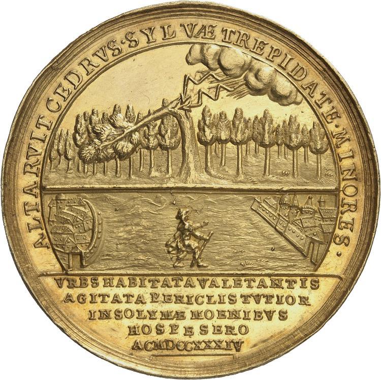 AUTRICHE Charles VI (1711-1740), Stephane Wesseleny Baron de Hadad, Transylvanie (1674-1734). Médaille en or 1734, au poids de 12 ducats, frappée pour la mort du baron de Hadad.