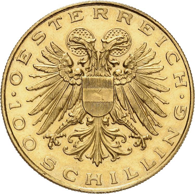 AUTRICHE Première République (1918-1938). 100 Schilling 1937.