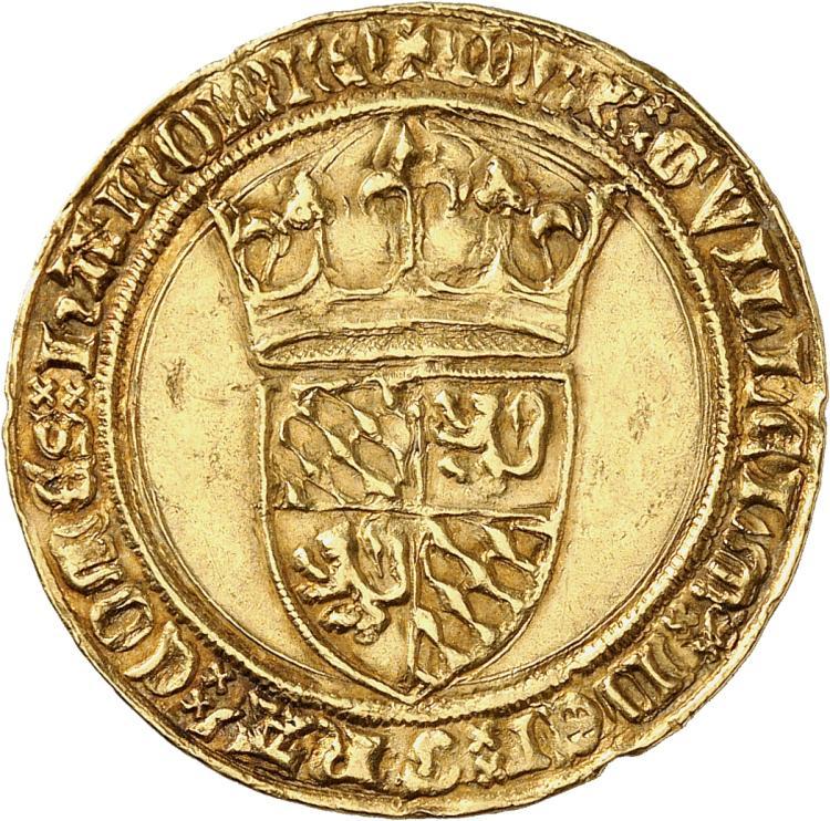 BELGIQUE Hainaut, Guillaume III l'Insensé (1356-1389). Couronne d'or, Valenciennes.