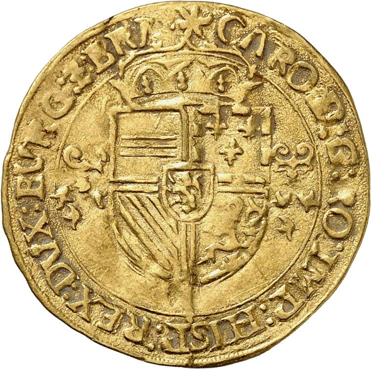 BELGIQUE Brabant, Charles Quint (1506-1555). Écu d'or (1553), date fautée, 1443.