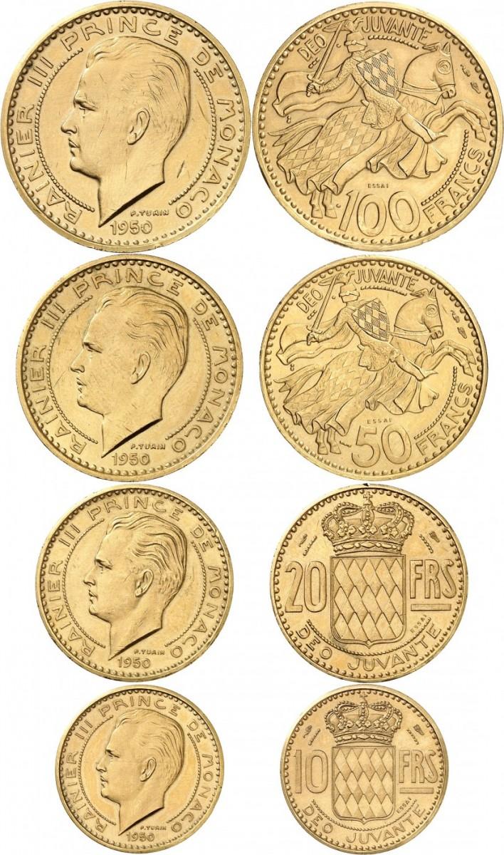 MONACO Rainier III (1949-2005). Série de 4 piéforts en or, 100, 50, 20 et 10 francs.
