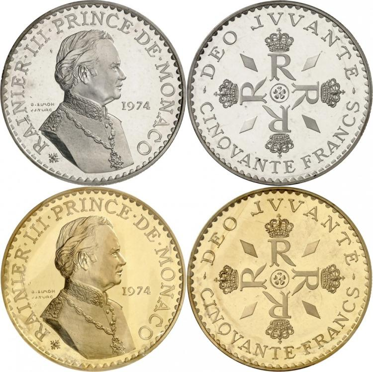 MONACO Rainier III (1949-2005). Paire de piéforts en argent et en or du 50 francs 1974.