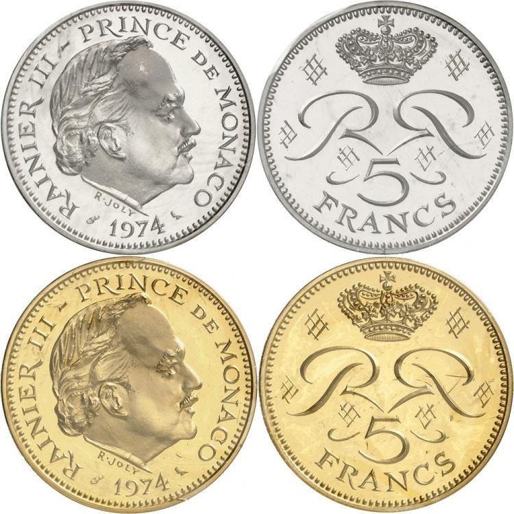 MONACO Rainier III (1949-2005). Paire de piéforts en argent et en or du 5 francs 1974.
