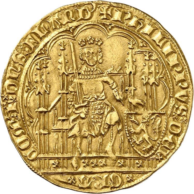 BELGIQUE Flandres, Philippe le Hardi (1384-1405). Écu d'or à la chaise, Malines.