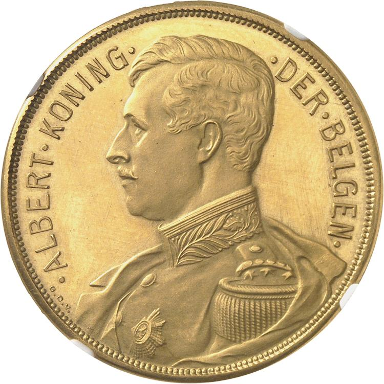 BELGIQUE Albert Ier (1909-1934). 100 francs 1911, Bruxelles, légende flamande. Tranche inscrite en relief en flamand.