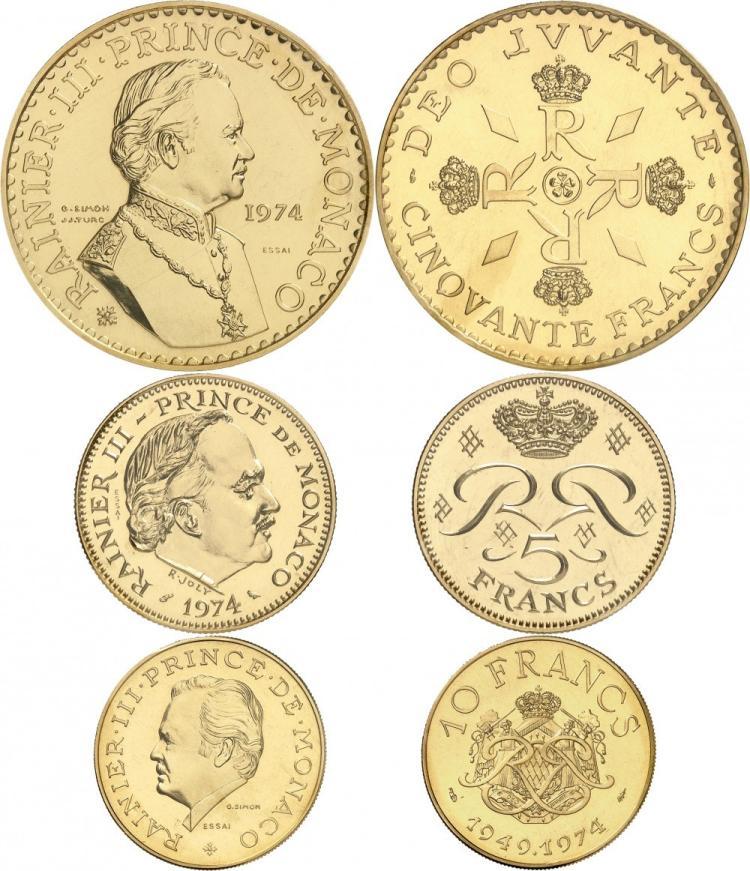 MONACO Rainier III (1949-2005). Série des 50, 10, et 5 francs 1974, essais en or.