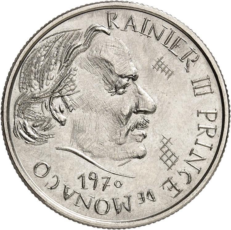 MONACO Rainier III (1949-2005). 5 francs 1970, première épreuve en nickel.