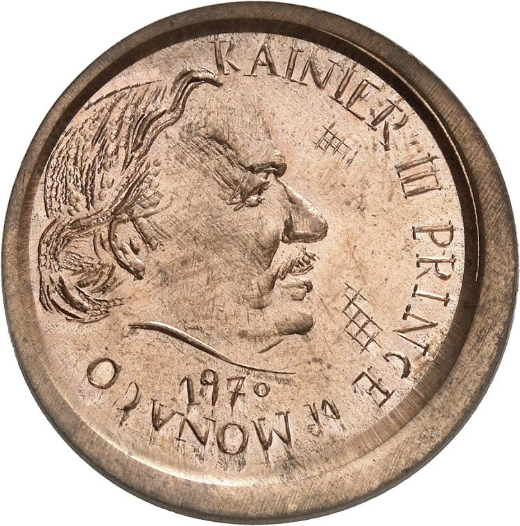 MONACO Rainier III (1949-2005). 5 francs 1970, essai uniface de l'avers de la première épreuve en cuivre.
