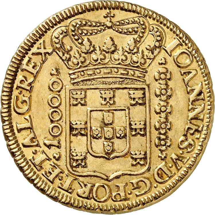 BRÉSIL Jean V (1706-1750). 10.000 Reis 1725, Minas Gerais.