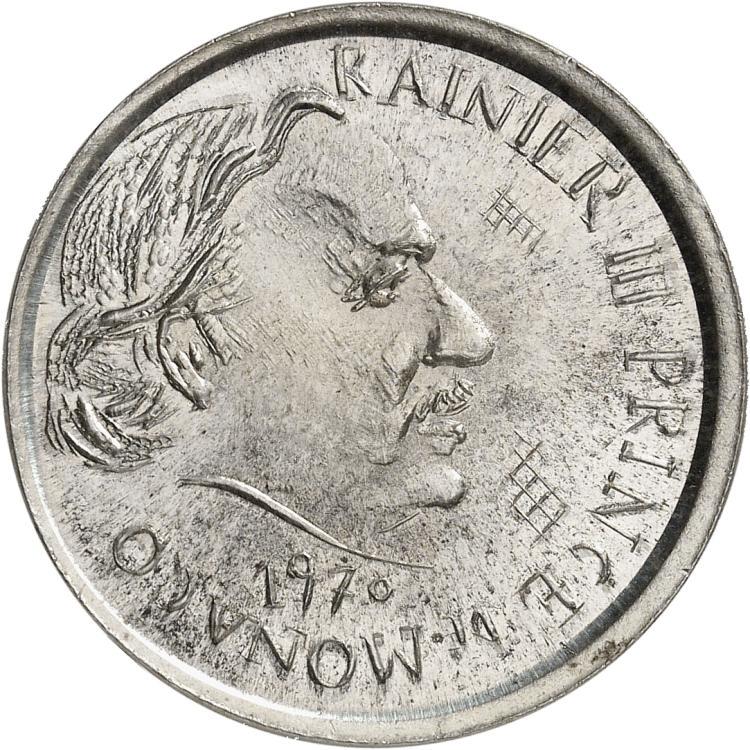 MONACO Rainier III (1949-2005). 5 francs 1970, essai uniface de l'avers de la première épreuve en maillechort.