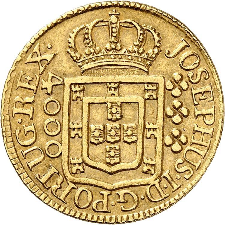 BRÉSIL Joseph Ier (1761-1788). 4.000 Reis 1776, Lisbonne.