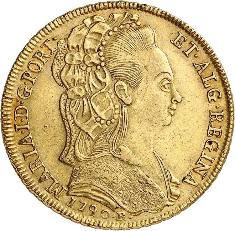 BRÉSIL Marie Ière (1786-1805). 6.400 Reis 1790, Rio de Janeiro.
