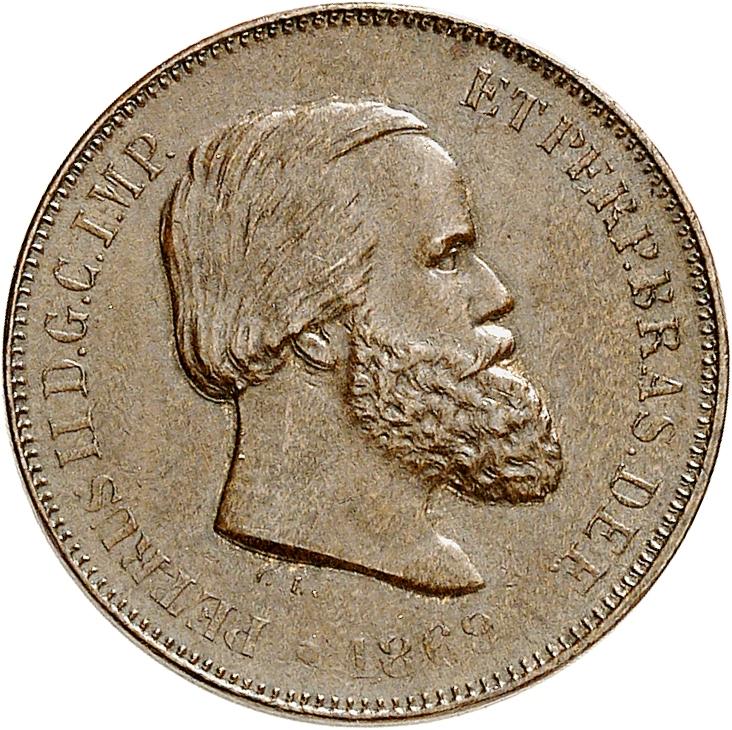 BRÉSIL Pierre II (1831-1889). 10 Reis 1869, Rio de Janeiro.