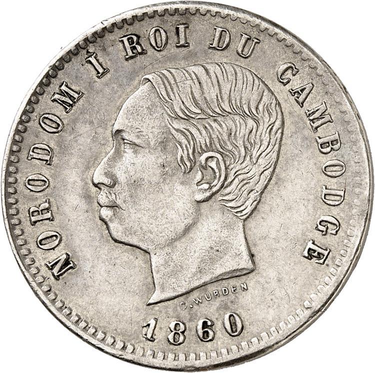 CAMBODGE Norodom Ier (1860-1904). 10 centimes 1860, essai en argent.