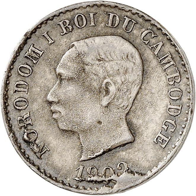 CAMBODGE Norodom Ier (1860-1904). 50 centimes 1902, frappe de souvenir.