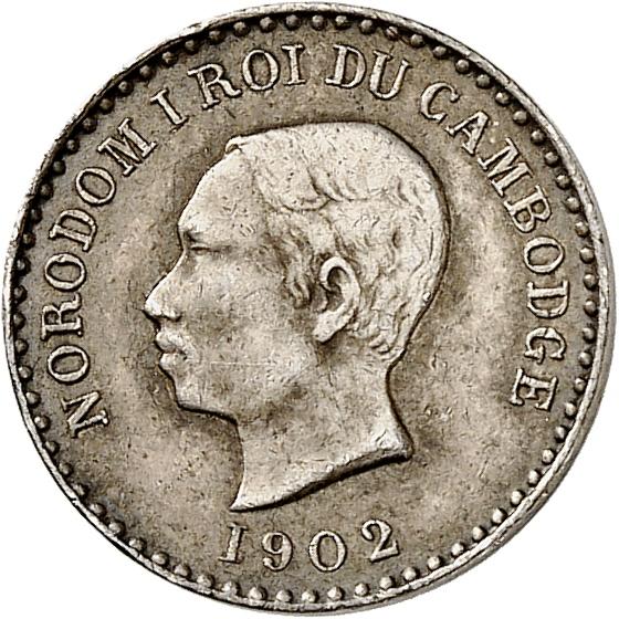 CAMBODGE Norodom Ier (1860-1904). 25 centimes 1902, frappe de souvenir.