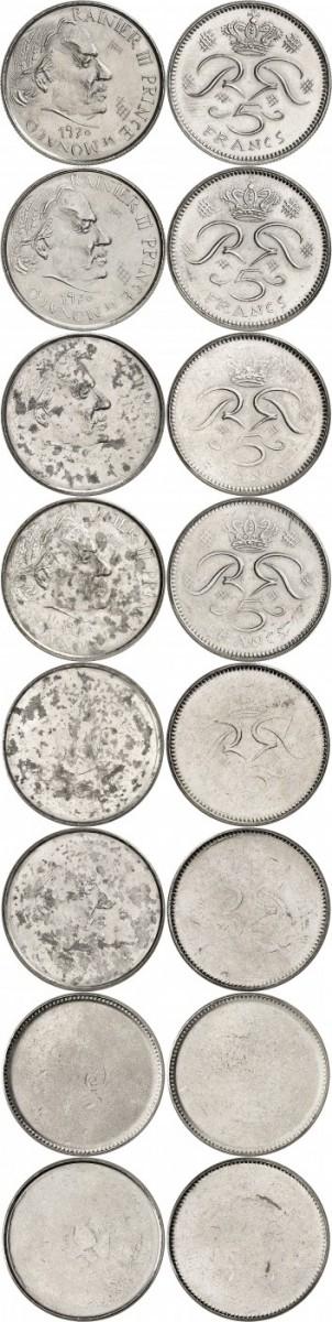 MONACO Rainier III (1949-2005). Série complète provenant de l'atelier du graveur R. Joly de la première épreuve non adoptée de la 5 francs 1970 en nickel. 8 essais à différents niveaux de pression.