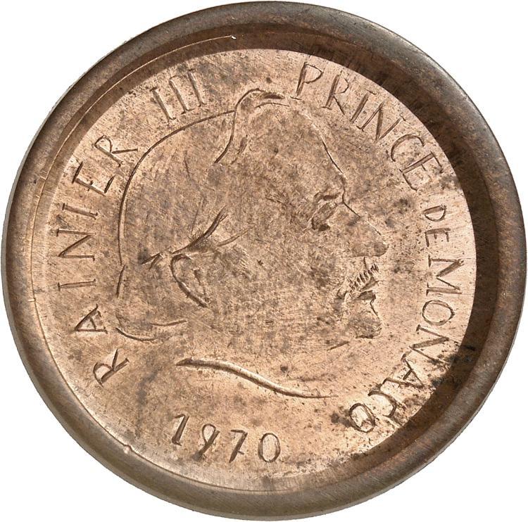 MONACO Rainier III (1949-2005). 5 francs 1970, essai uniface de l'avers de la deuxième épreuve en cuivre.