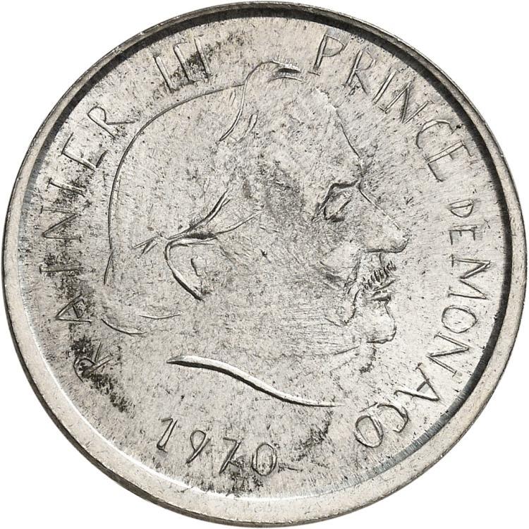 MONACO Rainier III (1949-2005). 5 francs 1970, essai uniface de l'avers de la deuxième épreuve en maillechort.